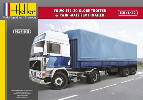 Heller 81703 VOLVO F12-20 Globetrotter & Twin-Axle Semi trailer