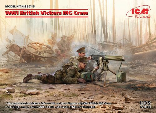 ICM 35713 WWI British Vickers MG Crew(Vickers MG & 2figures)