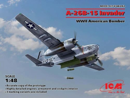 ICM 48282 A-26B-15 Invader,WWII American Bomber