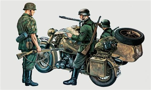 Italeri 0315 Military German Motocycles with side car