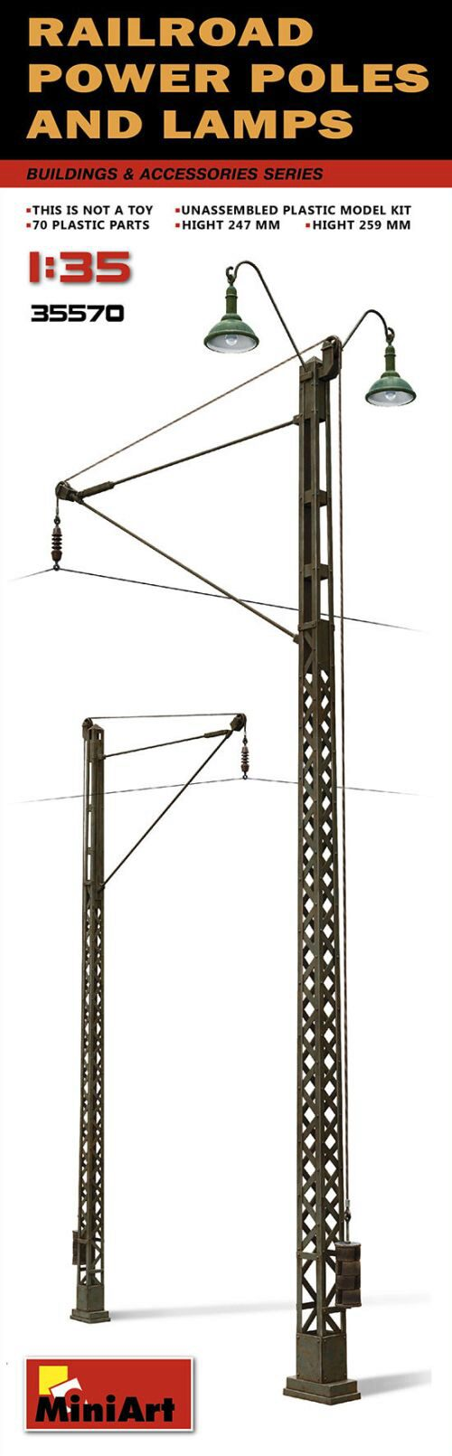 MiniArt 35570 Railroad Power Poles & Lamps