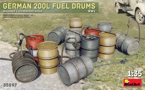 MiniArt 35597 German 200L Fuel Drum Set WW2