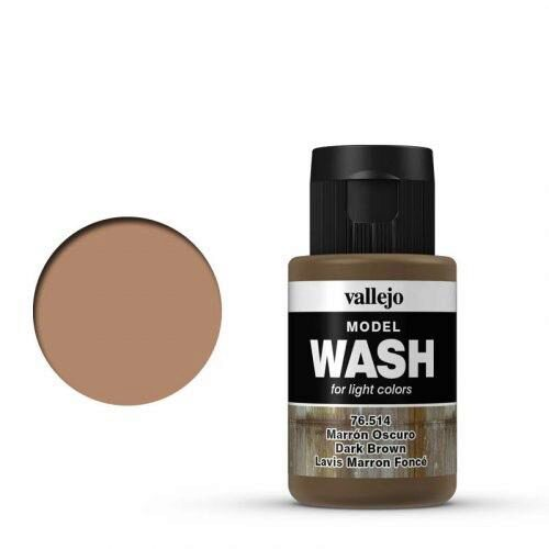 Vallejo 76514 Wash-Color, Dunkelbraun, 35 ml