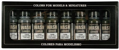 Vallejo 73998 Farbset, Washes, 8x17 ml, GameColor