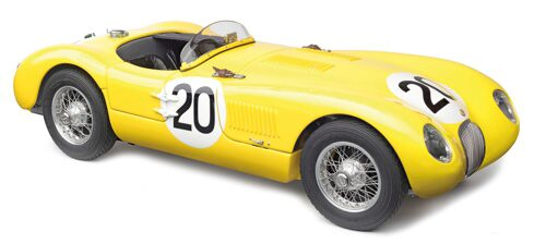 CMC M-194 Jaguar C-Type, 1953 (yellow) 24H France,  Jaguar racing team, #20 Roger Laurent / Charles de Tornaco, Limited Edition 1,000 pcs.