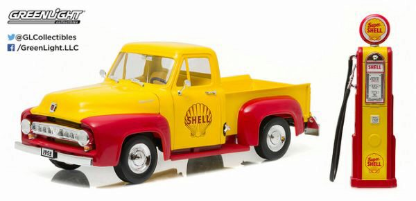 Greenlight 12983 1953 Ford F-100 Shell Oil w/ Vintage Shell Gas Pum
