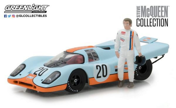 Greenlight 86435 Gulf Porsche 917K with Steve Mc Queen Figure