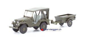 "ACE 005102 Armee-Jeep Willys M38A1 mit Anhänger ""Aebi""68"