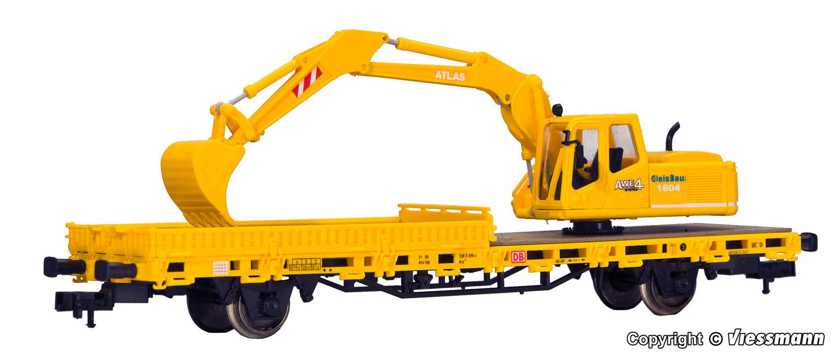 Kibri H0 26250 Fertigmodell Niederbordwagen mit ATLAS Bagger Gleisbau